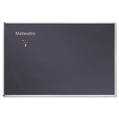 Porcelain Black Chalkboard w/Aluminum Frame, 48 x 96, Silver, Sold as 1 Each by Quartet