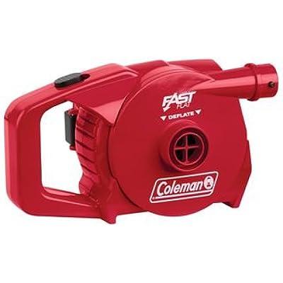 Coleman 4D Battery - Bomba para acampada, color rojo, talla STANDARD