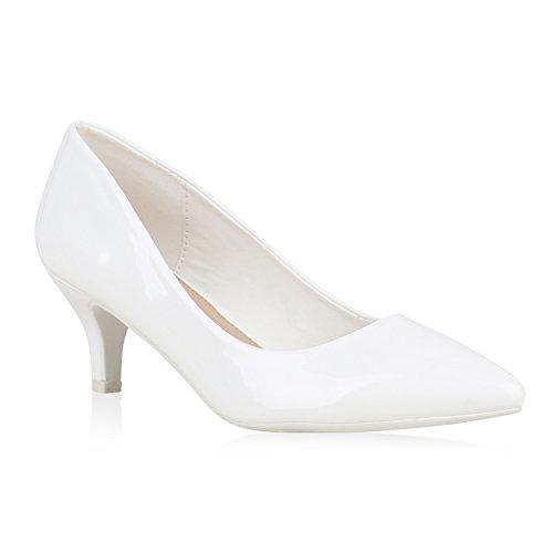 Abiball Schuhe Übergrößen Heels Optik Autol Abendschuhe Stiefelparadies Spitze Flandell Weiss Slingpumps Kitten Pumps Stiletto Absatzschuhe Leder Damen tn0qO