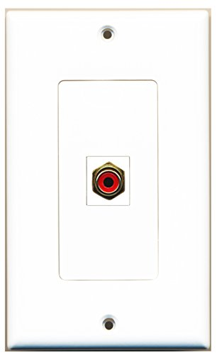 RiteAV - 1 RCA Red for Subwoofer Audio Port Wall Plate Decorative - White (Cat5e Red Wall Plate)
