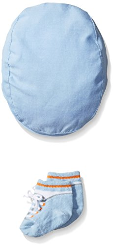 Hat Bootie Set - Little Me Baby Boys' Chambray Cabbie Hat and Bootie Set, Blue, 0-12 Months