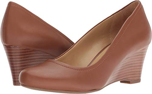 Wedge Leather Heels Shoes Tan (Naturalizer Women's Hydie Saddle Tan Leather 9 M US)