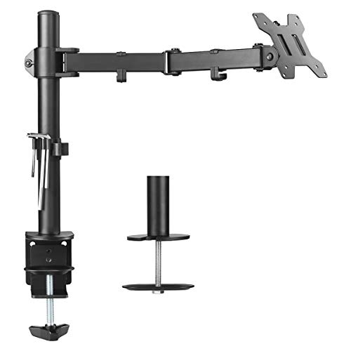 Suptek Single LED LCD Monitor Desk Mount Heavy Duty Fully Adjustable Stand for 1 / One Screen up to 27 inch (MD6421)