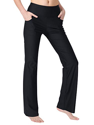 Zeronic Women's Bootleg Yoga Pants with Pockets Long Bootcut Workout Running Pants Tummy Control Pockets Work Pants for Women
