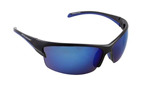 Optic Edge Breakaway Semi-Rimless Sunglasses, Matte Black Frame, Ice Blue Mirror - Breakaway Sunglasses