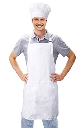 JoyFamily Chef Hat and Kitchen Apron Set, 100% Cotton Adjustable Bib, Perfect for Adults Cooking, Baking, Painting (White)]()
