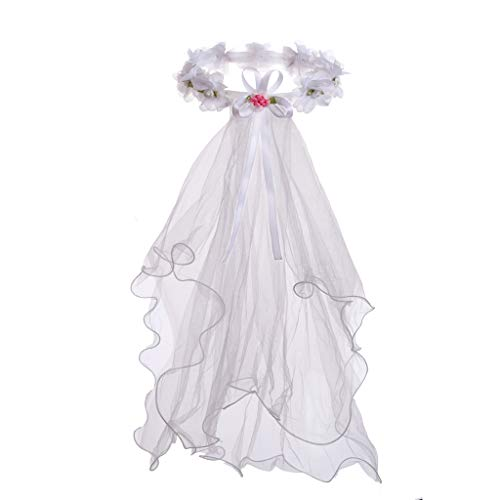 Flower Girls White First Communion Veil Headband with Bow (One Size, White (Hair -