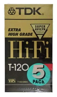 TDK 5 Pack Extra High Grade Hi-Fi T-120 Video Tapes