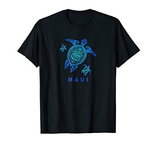 Maui Hawaii T-Shirt Sea Blue Tribal Turtle
