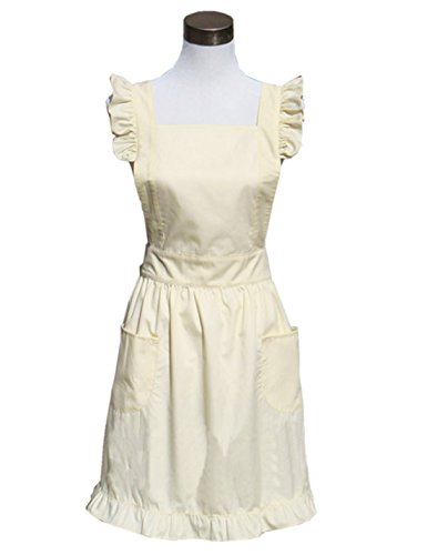 Hyzrz Cute Lovely Cotton Retro Kitchen Cooking Aprons for Women Girls Vintage Baking Sexy Victorian Apron with Pockets for Gift - Vintage Women Retro