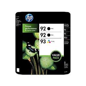 HP 92/92/93 Original Ink Cartridge, Black/Tri-Color (3 pk, 220 Page Yield) (Hp Ink 92 93)