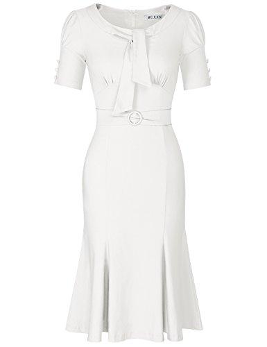 MUXXN Ladies Solid Color Elbow Sleeve Vintage Wedding Tea Dress (White XL)