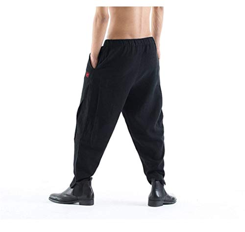 Moda Los Chándal Basicas Sólido Otoño De Pantalones Jogging Con Lino Casuales Color Negro Arranque Hombres Primavera xEcBvvY7qw