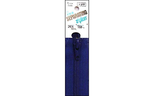 "YKK Ziplon 1-Way Separating Zipper, 24"", Royal Blue"