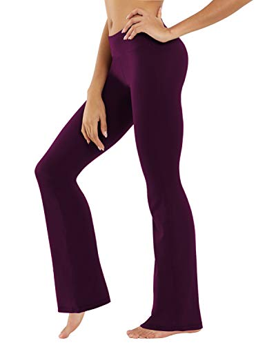 BUBBLELIME Bootcut Yoga Pants High Waist Moisture Wicking, Plum (87/13 Ns), X-Large ( 35
