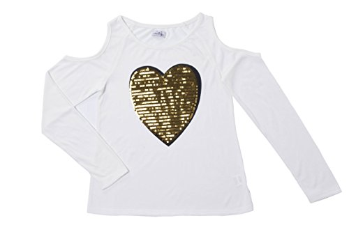 - Dolcevida Girls Cold Shoulder Sequin Tops Long Sleeve Round Neck Casual T-Shirts (S, White)