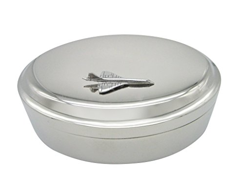 Silver Toned Textured Concord Plane Pendant Oval Trinket Jewelry Box (Oval Concord)