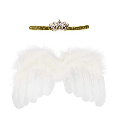 Wolken Newborn Baby Angel Feather Wing with Crwon Rhinestone Headband Set Photo Props Outfit Costume]()