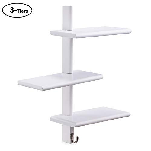 SunGlobal Floating Shelves Wall Mounted, 3-Tier White Display Wall Shelf Wood Storage Shelves with Hook for Bedroom, Living Room, Bathroom, Kitchen, Office Any Room ()