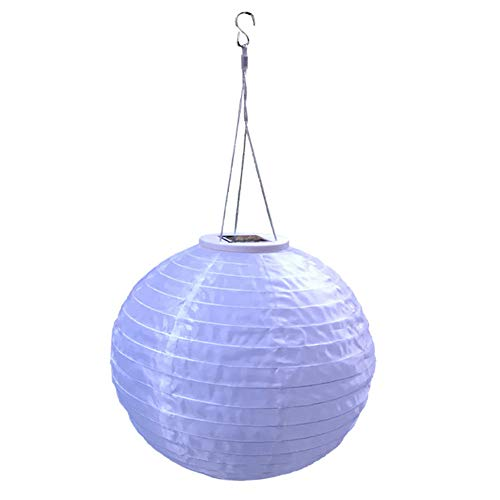 BestTong 12 Inches Solar Lanterns Outdoor Hanging Solar Powered LED Light Chinese Nylon Fabric Lantern Lamp Lighting for Outdoor Garden Patio Party Wedding Decoration New Version (Chinese Lanterns Nylon)