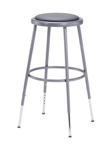 National Public Seating 6424H Grey Steel Stool with Vinyl Upholstered Seat Adjustable, -