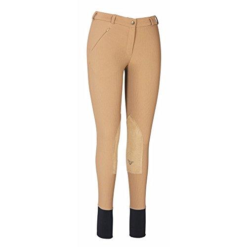 (TuffRider Ladies Ribb Lowrise Knee Patch Regular Breeches Taupe 30 EU)
