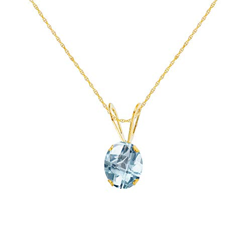 """Genuine 10K Solid Yellow Gold 7x5mm Oval Natural Aquamarine March Birthstone 18"""" Rope Chain Necklace"""