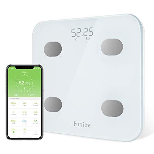 【 進化版 体重計・体組成計 Bluetooth 】 体組成計・体脂肪計 USB充電式体重計 乗るだけで電源ON 日本語APP 登録人数無制限 ヘルスケア・Fitbit・Google Fitと連携 体重/体脂肪率/体水分率/骨量/基礎代謝量/BMI/など簡単測定・同期 体組成計 体重計 スマホ iOS/Androidアプリで 健康管理・肥満予防・体重管理 ブルートゥース対応 カラダスキャン 技適認証済 日本語取扱説明書付き ホワイト