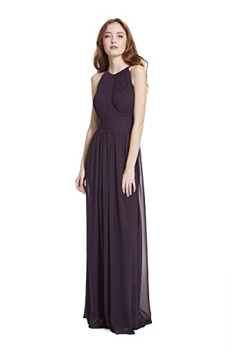 Samantha Paige Shirred Front Keyhole Back, Halter Neckline Pleated A-line Chiffon Formal Dress,Plum,6 Keyhole Dress Plum