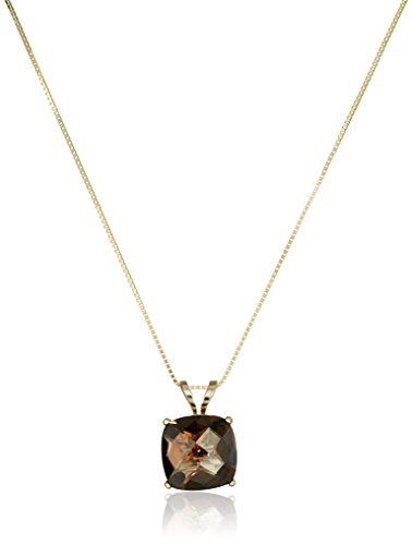 - 14k Yellow Gold Cushion Checkerboard Smoky Quartz  Pendant Necklace (8mm)