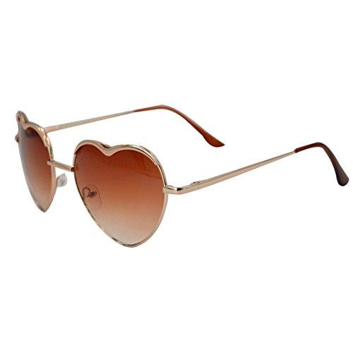 Mily Heart Shape Sunglasses Aviator Thin Metal Frame Retro Aviator Style Sunglasses for Women (Amber - Beautiful Sunglasses