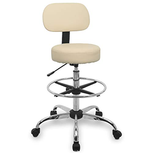 Urest Rolling Stool Chair Height Adjustable Swivel with Back Cushion, Foot Rest and Wheels, Drafting Stool Esthetician Stool, Beige (Stools With Backs Shop)