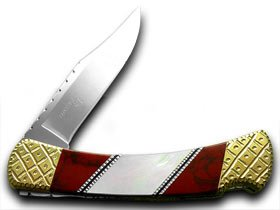 Buck 110 Painted Pony Folding Hunter Genuine Mother of Pearl and Red Jasper 1/53 Custom Pocket Knife Knives