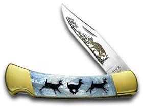 BUCK 110 Folding Hunter Custom Blue Luster Corelon Running Deer 1/400 Knife by Buck
