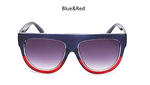 grande sol Moda ZHANGYUSEN de Blueredgray Top sol remache Vintage Gafas Gafas de Flat tonos Señoras de Bastidor Blueredgray hembra sobredimensionado Womenr UV400 wzOFxqtzB