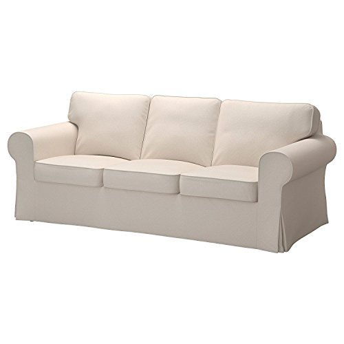 Replacement Cover for IKEA Ektorp 3-seat Sofa without Chaise, Lofallet Beige (Couch Slipcovers Pillow)