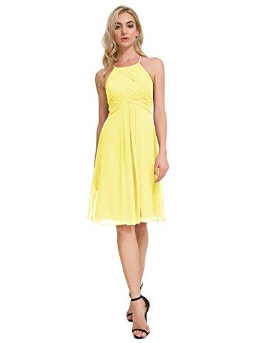 Alicepub Chiffon Bridesmaid Dresses Halter Cocktail Dress Short Homecoming Party Dresses, Yellow, US2