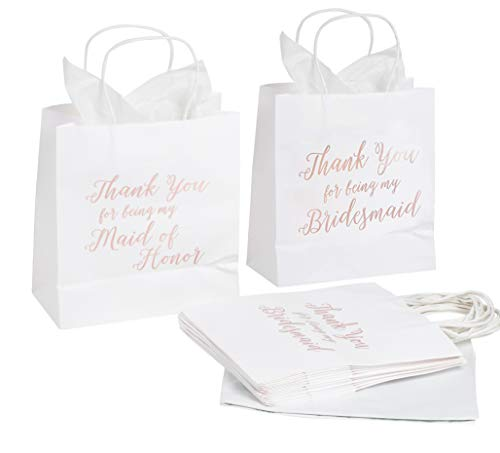 Bridesmaids Gift Bags (11 Bridesmaid and 1 Maid of Honor Thank You Paper Gift Bag, Rose Gold Foil Text, Includes 20 Sheets of Tissue Paper, Perfect for Bridal Party Favors, White, 9 x)