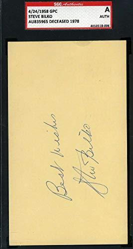 STEVE BILKO SGC Coa Autograph 1958 GPC Postcard Hand Signed