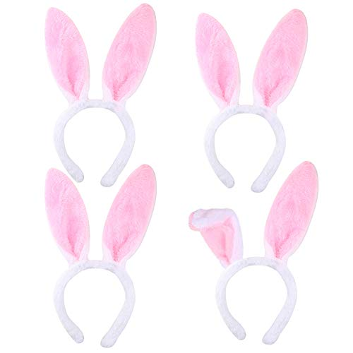 LovesTown Bunny Ears Headbands,4pcs Rabbit Ear Hairbands for Easter Party Masquerade Animal Theme Party