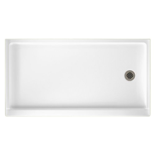 SR-3260R-010 Solid Surface Right Hand Drain Shower Base, 60-Inch by 32-Inch by 5-1/2-Inch, White