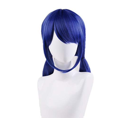 Ani-Lnc Short Blue Synthetic Cosplay Wig With Double Ponytails For Girls