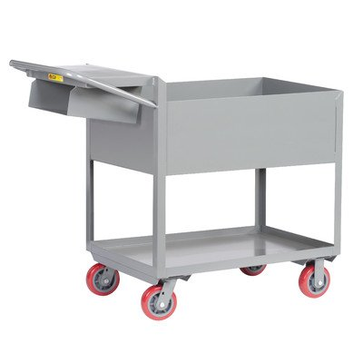 Deep Shelf Steel Utility Cart with Writing Shelf and Storage Pocket by Little Giant USA