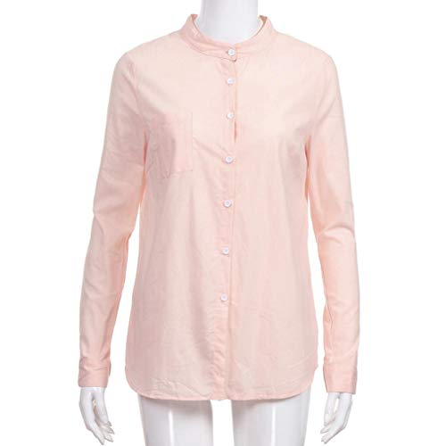 Manches Tops Femme Cotton Party Longues De T Loose Sexy Chic Soiree Casual Blouse Mode Rose Chemisier Button Shirt FPgIxP
