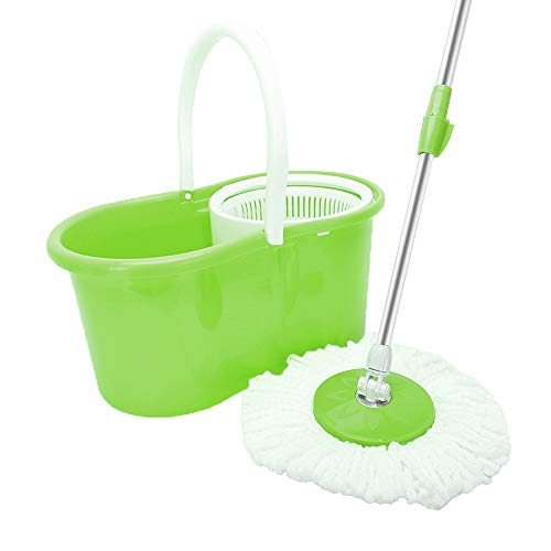 WOJOY Spin Mop and Bucket Sytem – 360° Self Wringing Spinning Mop with Stackable Bucket and 2 Machine Washable Microfiber Mop Heads – with Bucket & Dual Mop Heads Home Set (Green)