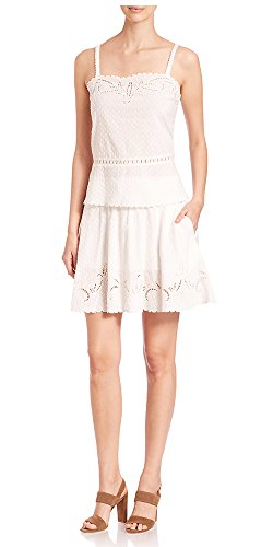 The Kooples Women's Cotton Dobby Broderie Anglaise Embroidered Tank Top (XXS, Natural)