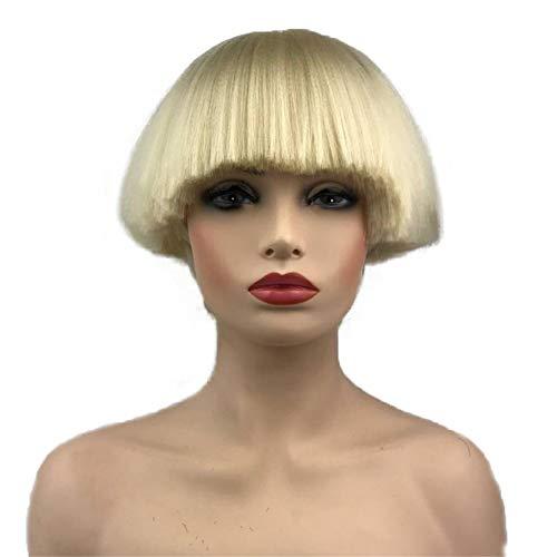 Aimole Short Yaki Straight Synthetic Wigs Blonde Mushroom