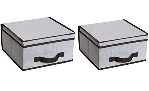 iTIDY Storage Box-Premium Fabric Foldable Storage Container with Lid,Handles & Transparent Label Holder, Set of 2,Gray