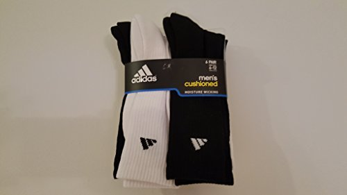 adidas 6 Pair Mens Cushioned Crew Socks Black-White Hi Viz Logo by adidas