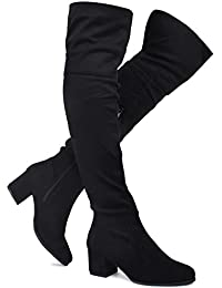 c58648eead7 Women's Over The Knee Stretch Boot - Trendy Low Block Heel Shoe - Sexy Over  The